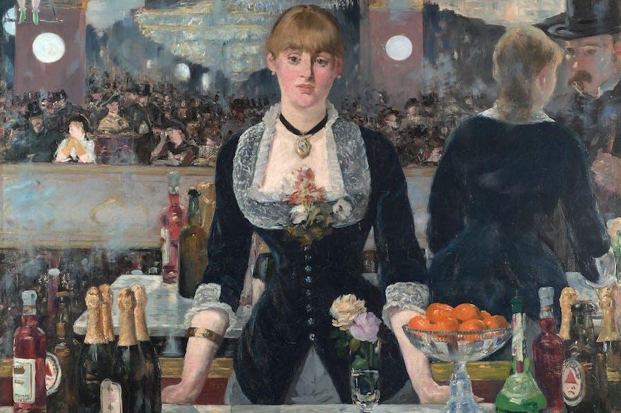 A Bar at the Folies-Bergère (detail; 1881–82), Édouard Manet.