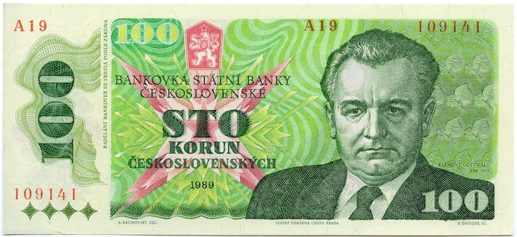 A 100-kroner note, issued in Czechoslovakia on October 1, 1989.
