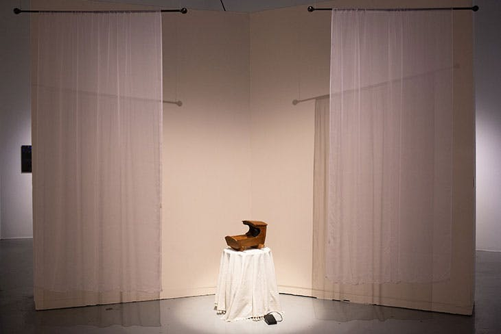 Optical Score (2021), Daniel Konhauser. Installation view of 'Sounds Like Home: Longing and Comfort Through Lullabies', SOMArts Cultural Center, San Francisco, 2021