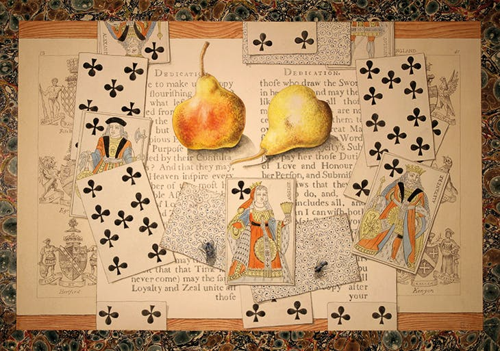 Fruit and Playing Cards Trompe l'Oeil (1953), Richard Chopping. Private collection.