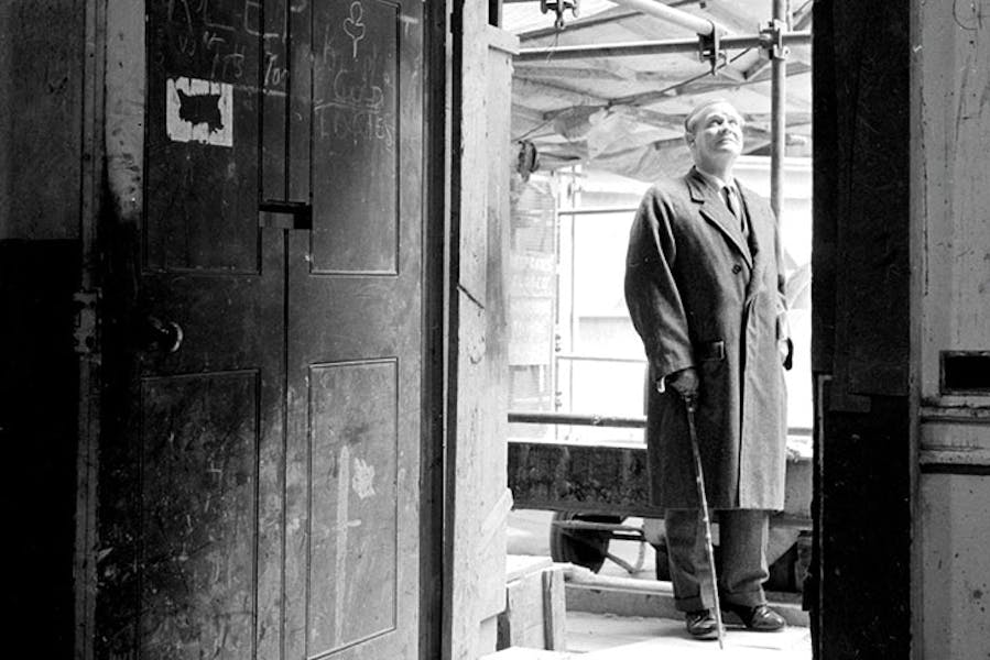 Raymond Erith inspecting work in progress at 10 Downing Street in 1962.