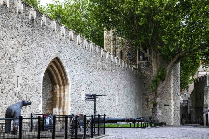 The castle walls and Landthorn Tower at the Tower of London.