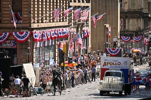 Whimsy galore: Glasgow decked out as Philadelphia for the arrival of Indiana Jones. Photo: Jeff J Mitchell/Getty Images