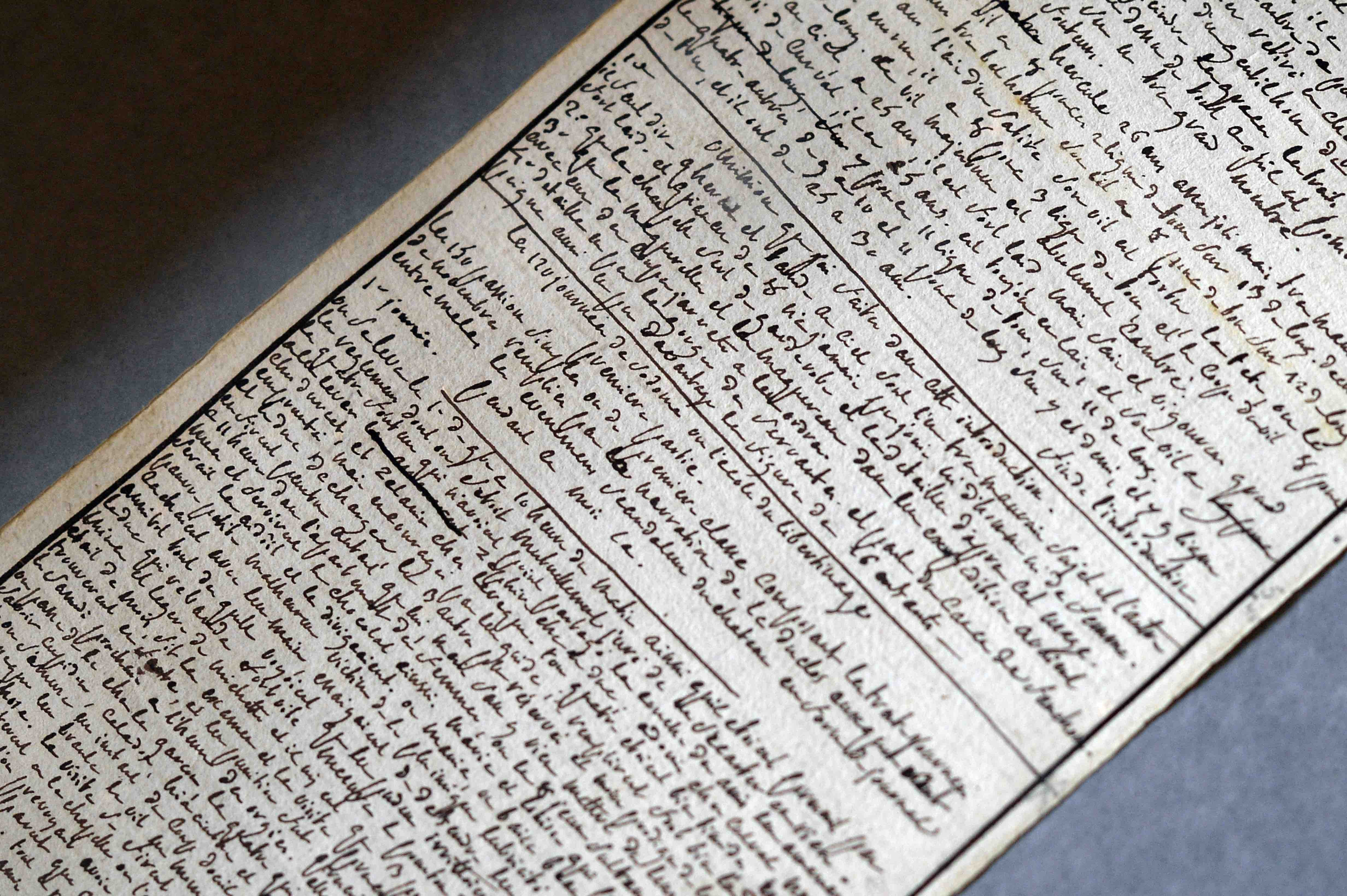 The manuscript of 'The 120 Days of Sodom' written by the Marquis de Sade while he was imprisoned at the Bastille in 1785.