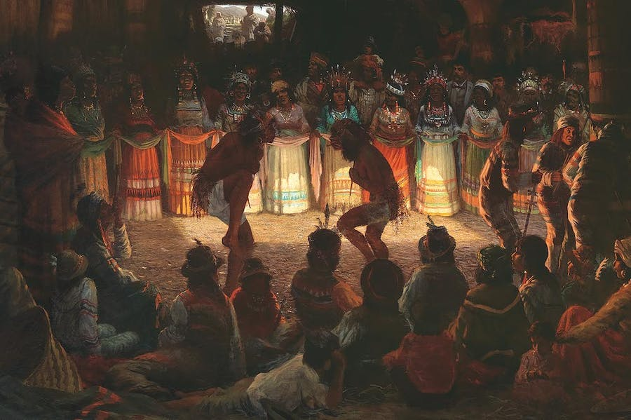 Dance in a Subterranean Round- house at Clear Lake, California (detail; 1878), Jules Tavernier.