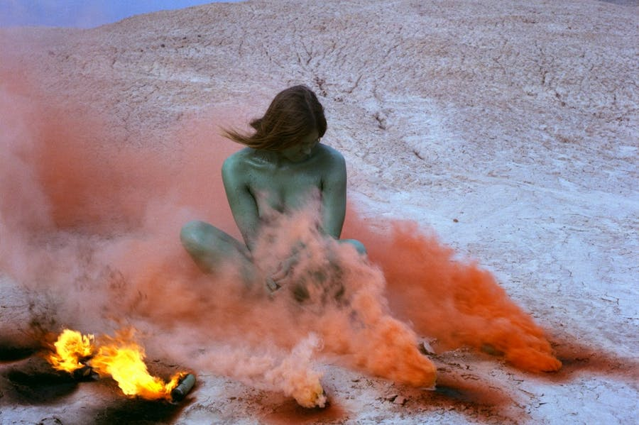 Immolation(1972) from theWomen and Smokeseries (1968–74), Judy Chicago; performed in the Californian desert.Photo: Through the Flower Archives. Courtesy the artist; Salon 94, New York; and Jessica Silverman, San Francisco; © Judy Chicago/ARS, New York