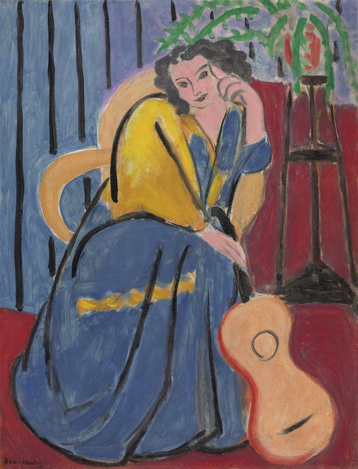 Girl in Yellow and Blue with Guitar (1939), Henri Matisse.