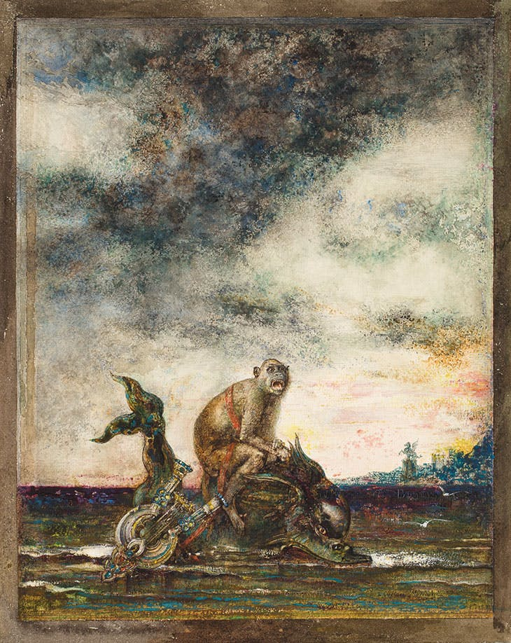 The Monkey and the Dolphin (1879; retouched 1881), Gustave Moreau.