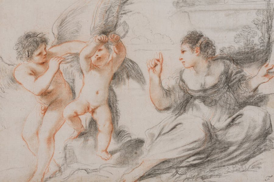 Venus scolding Cupid, while an older cupid binds him to a tree (detail; 17th century), Giovanni Francesco Barbieri, called il Guercino.