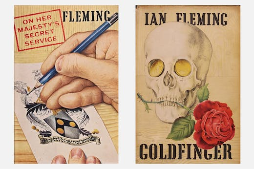Richard Chopping's covers for On Her Majesty's Secret Service (1963) and Goldfinger (1959) by Ian Fleming.