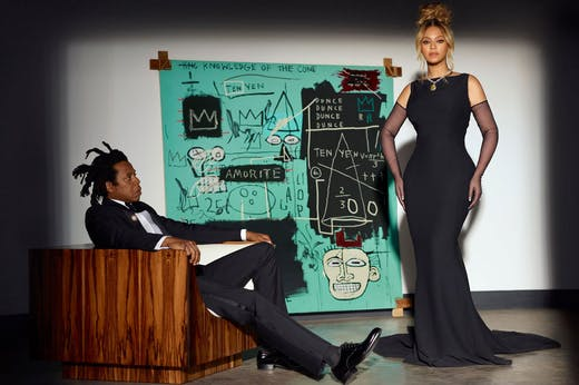Jay-Z and Beyoncé pose with Basquiat's 'Equals Pi' (1982) in Tiffany's 'About Love' campaign.