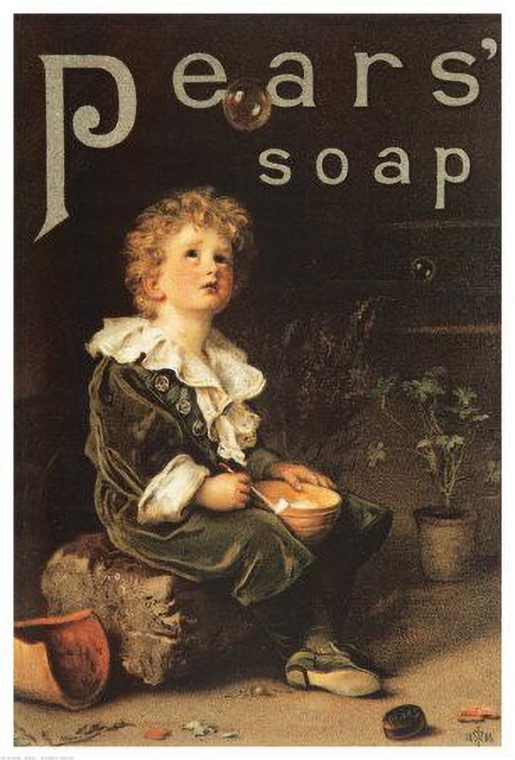 Pears' soap ad featuring Bubbles (1886) by John Everett Millais.