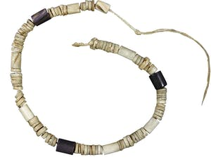 Wampum string made by a Moratico or Rappahannock maker, Virginia, and donated to the library of Canterbury Cathedral by Canon John Bargrave in 1676.