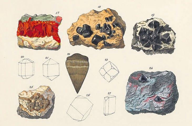 The Mineral Kingdom (1859), Johann Gottlob Kurr. 'Greyish Blue' is visible on the iron ore (bottom row, right)