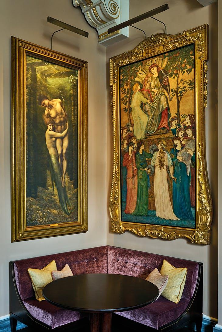 A copy of Burne-Jones's Depths of the Sea – the original of 1886 in Lloyd Webber's collection – hangs next to a cartoon by Burne-Jones for the needlepoint design Musica.
