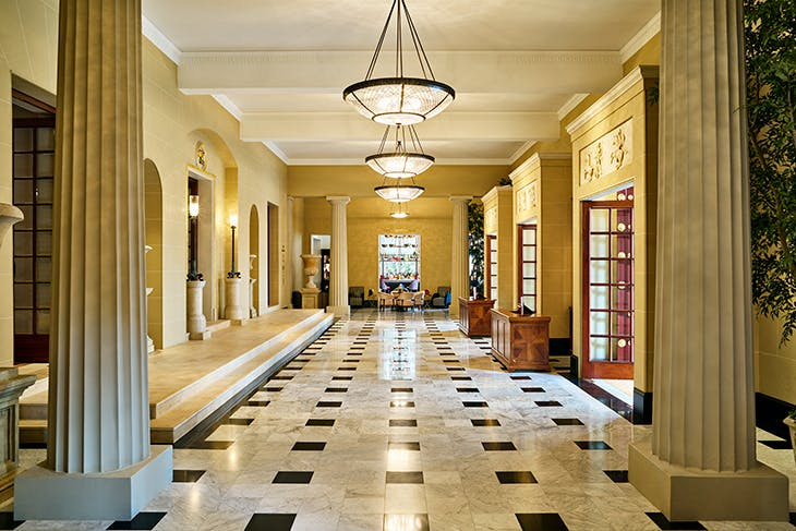 The newly restored entrance foyer of the Theatre Royal Drury Lane.