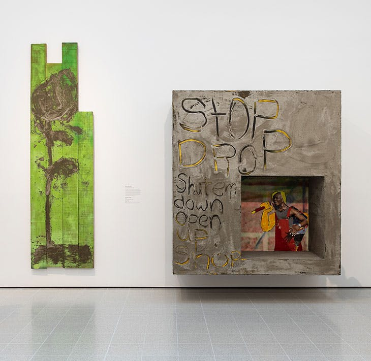 Installation view of 'Mixing It Up: Painting Today' at the Hayward Gallery, London, 2021. On the left is Alvaro Barrington's A Rose for Rose (2021); on the right his Stop Drop (2021).