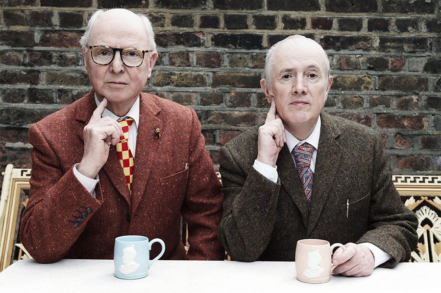 Gilbert & George, photographed at their home (and studio) in London, 2021.