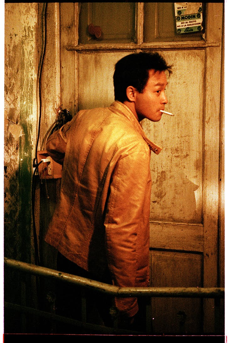 Leslie Cheng in 'Happy Together' (1997), wearing a yellow jacket that is up for auction at Sothebys Hong Kong on 10 October 2021.