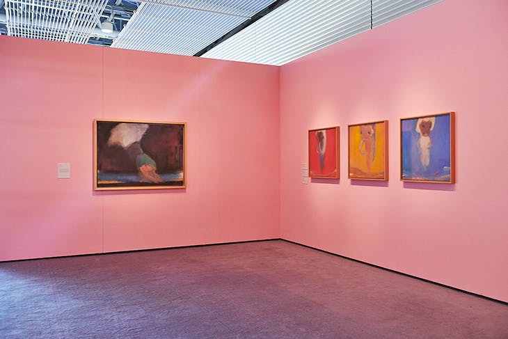 Installation view of 'Usagi in Wonderland' at the Sainsbury Centre, with canvases from 1996–99