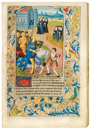 Page from the Life of St Radegund (c. 1496–98), Jean Bouchet, illuminated by the Master of St Radegund. illuminated by the Master of St Radegund