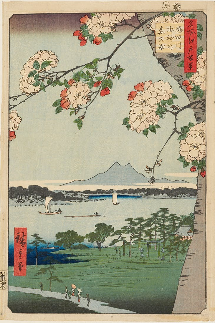The Suijin Woods and Massaki on the Sumida River, from the series One Hundred Famous Views of Edo (1856), Hiroshige.
