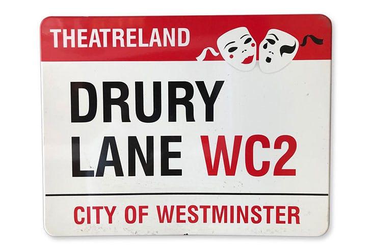 An enamelled iron street sign for Drury Lane in Theatreland (estimate £300–£500)