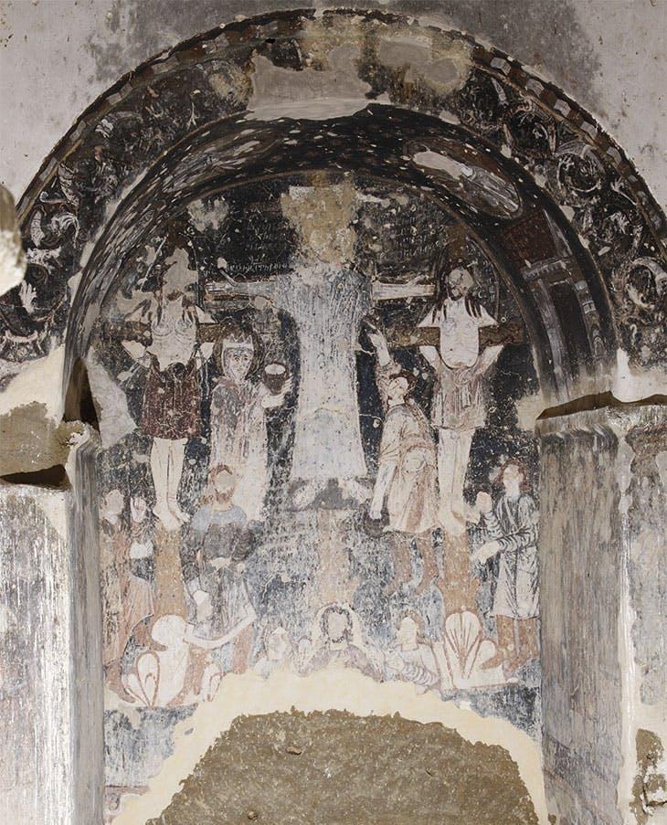 Fresco of the Crucifixion in a cave church at Sabereebi.