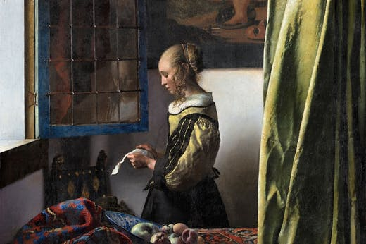 Girl Reading a Letter at the Open Window (detail; 1657–59), Johannes Vermeer.