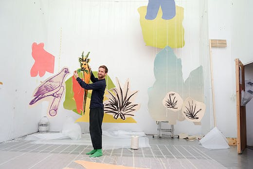 Work in progress for 'Petrit Halilaj: Very volcanic over this green feather' at Tate St Ives, 2021.