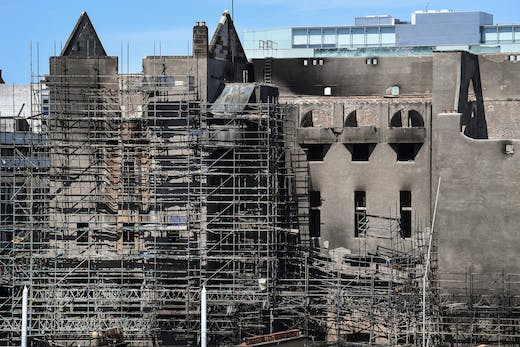 The Glasgow School of Art, after it was damaged by fire in June 2018.