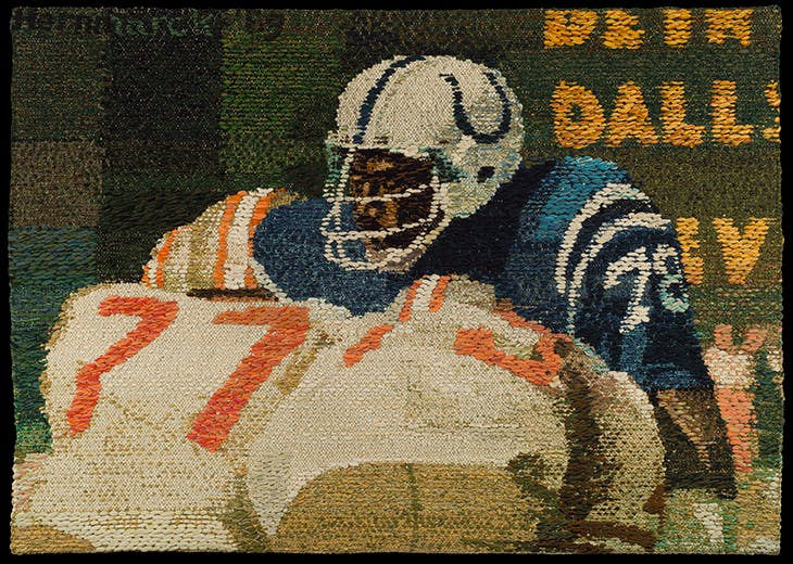 Textile depicting Bubba Smith of the Baltimore Colts (1969(, Helena Hernmarck.