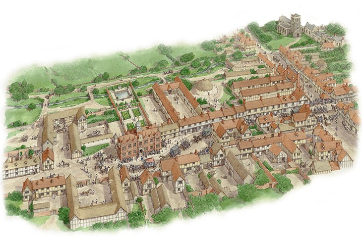 Royston town centre as it may have been in c. 1620, reconstructed by Simon Thurley and drawn by Stephen Conlin