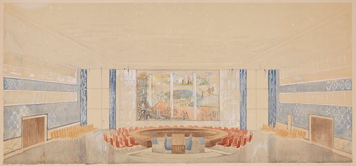 Drawing of UN Security Council Chamber, United Nations, New York City (c. 1949), Arnstein Arneberg.