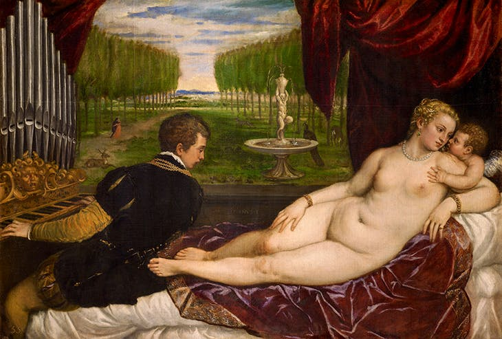 Venus with an Organist and Cupid (c. 1555), Titian.