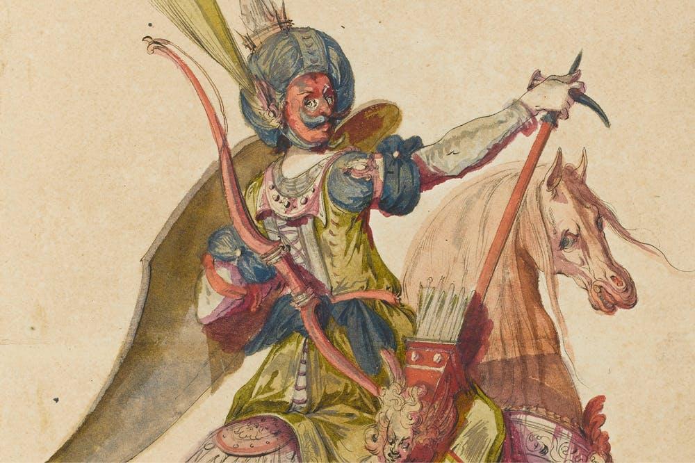 Turkish Cavalier (detail; 1612–16), Jacques Bellange.