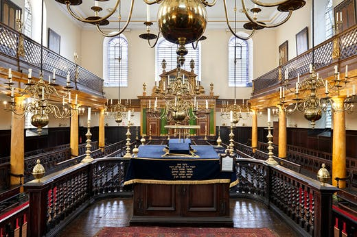 A view of the reader's desk inside the bimah in Bevis Marks Synagogue in 2015.