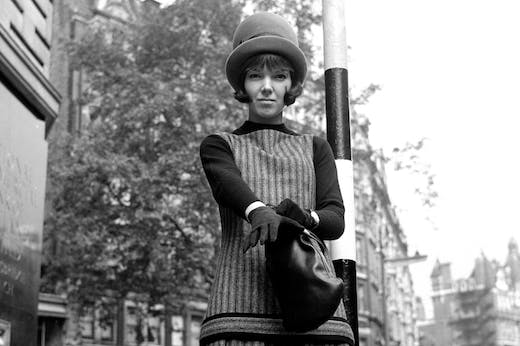 After a fashion – Mary Quant on the Brompton Road, Knightsbridge, in October 1960. Photo: Cyril Maitland/Mirrorpix/Getty Images