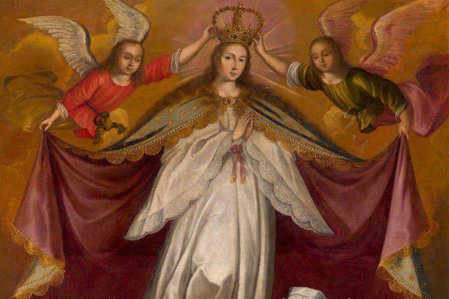 Patronage of the Virgin Immaculate over the Children of the Viceroy Count of Lemos (detail; c. 1672), workshop of Francisco de Escobar.