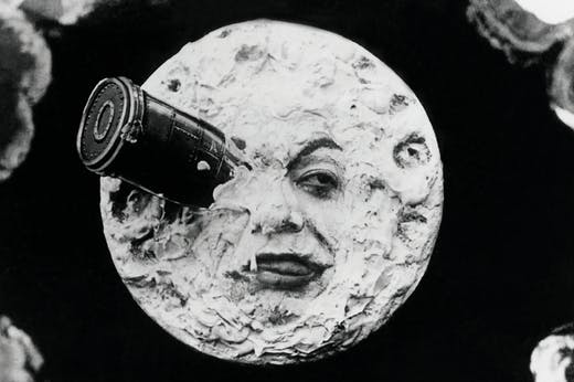Still from 'Voyage to the Moon' (1902) by Georges Méliès: the astronomers' vessel lands on the moon.